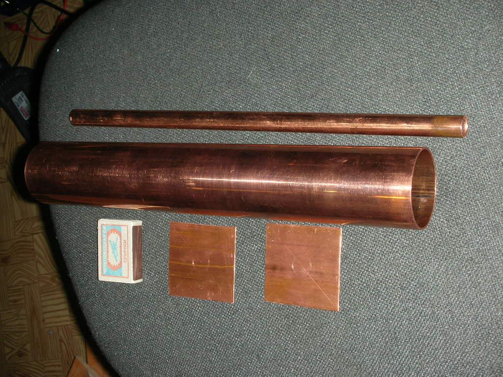 Медные трубы и пластины для изготовления фильтра на 430МГц (коаксиального резонатора)